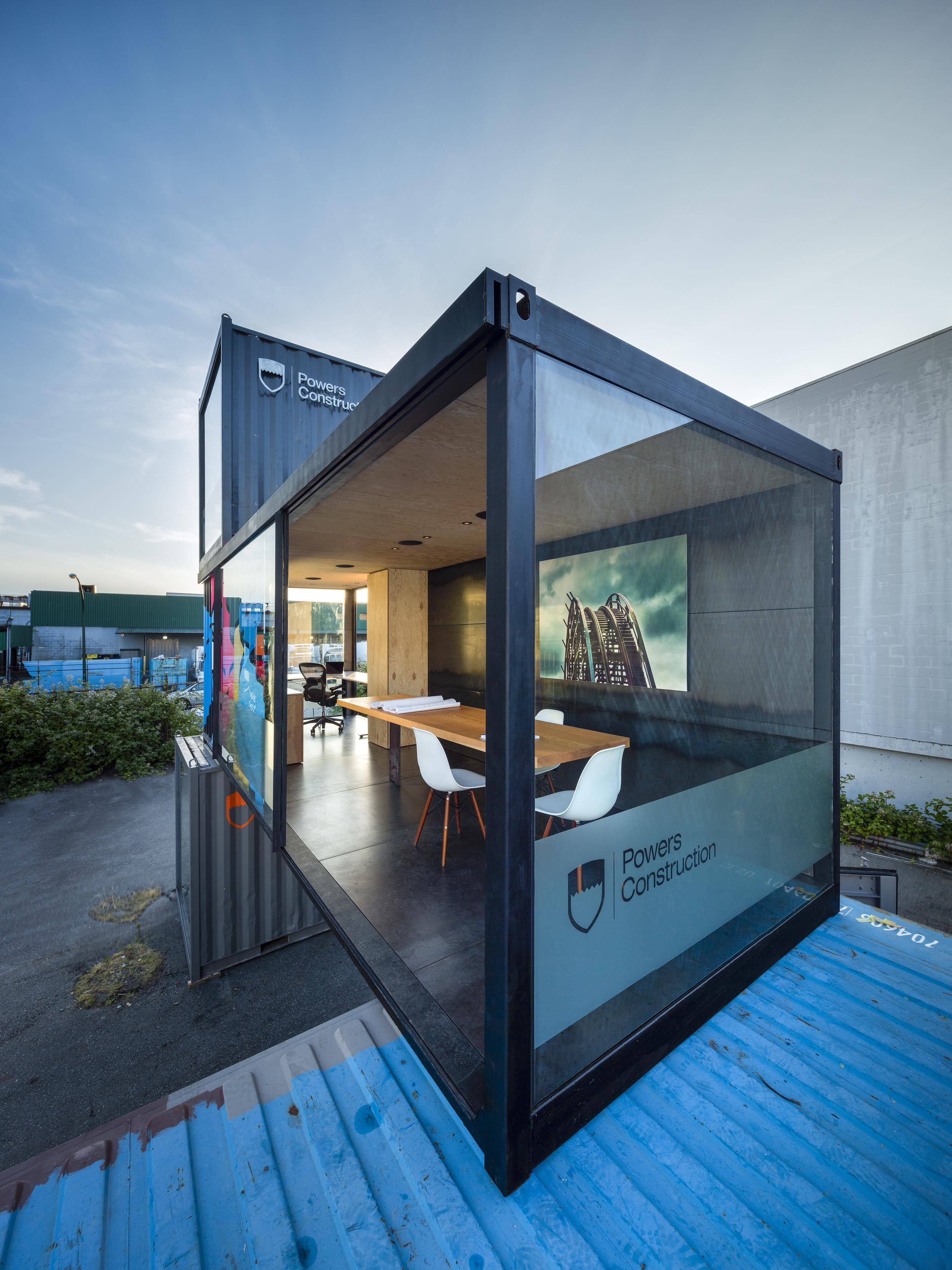 interior of the mobile office made from shipping container