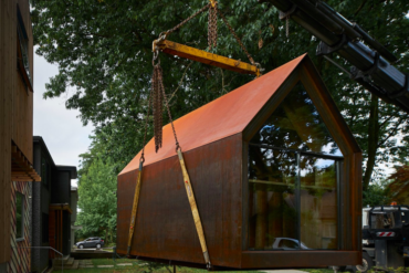 Mobile office being delivered to a construction site