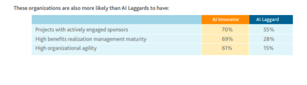 Discrepancies between project managers innovators and laggards