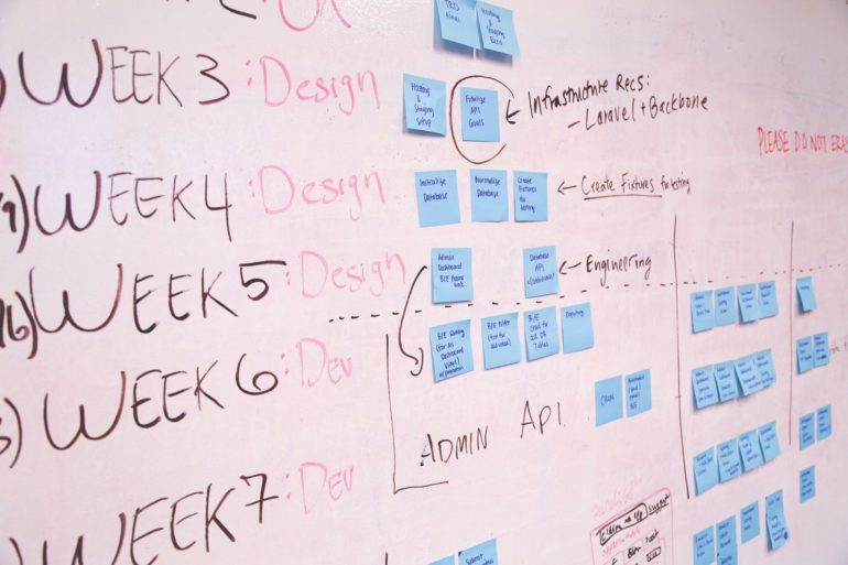 Photo of weekly project workflows on whiteboard