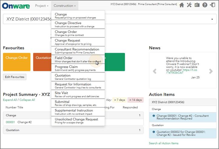 Onware Construction Project Management Software Screenshot