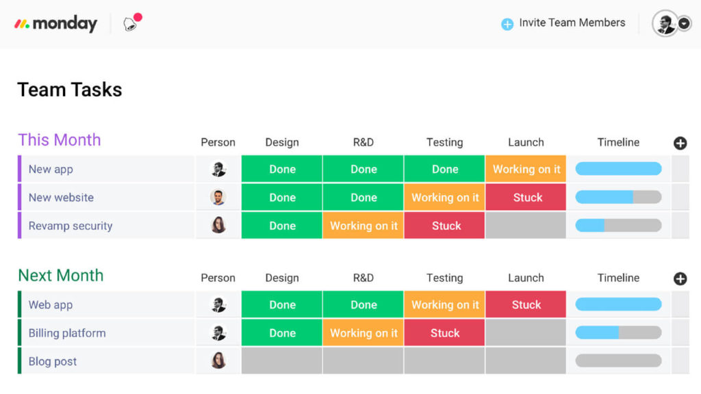 Monday.com Task Board Project Management Software For Architects Screenshot