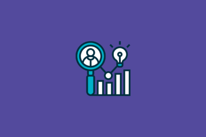 illustration of a business person, a lightbulb, and a bar chart