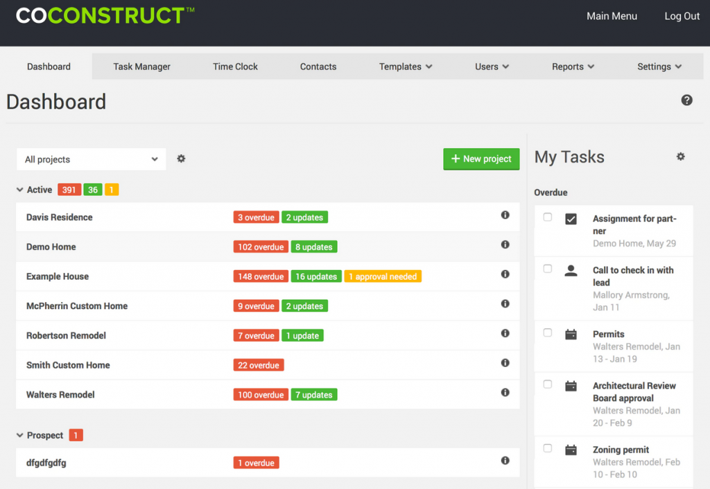 CoConstruct Project Cost Software Screenshots