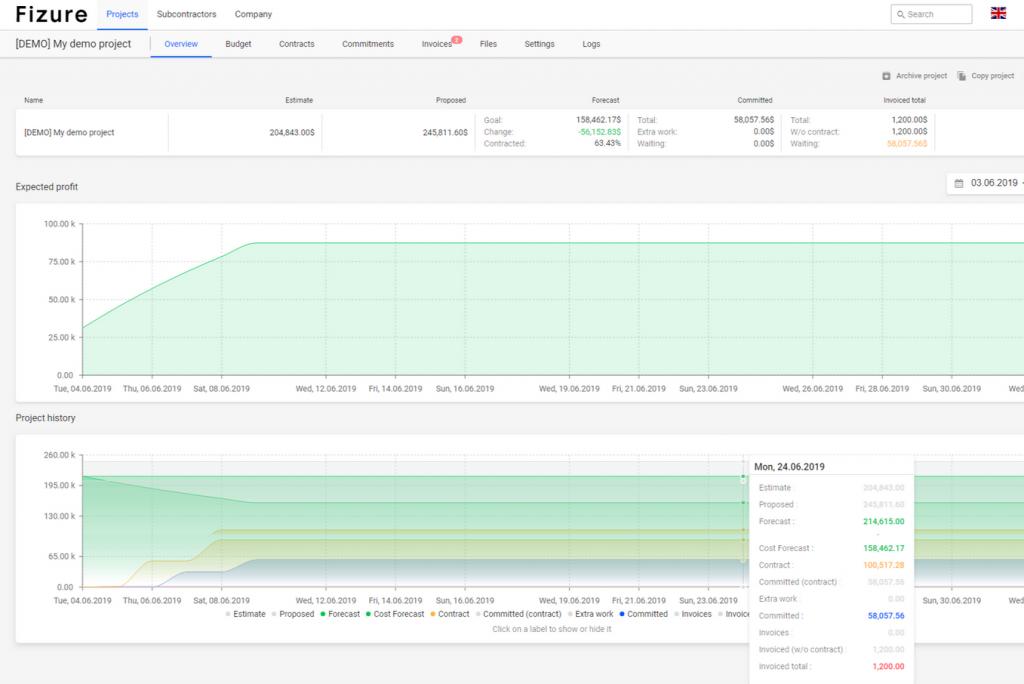 Fizure Project Cost Software Screenshots
