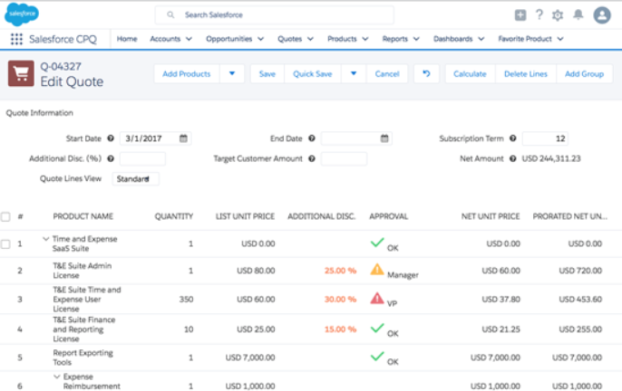 Salesforce CPQ Software Vendors Screenshot