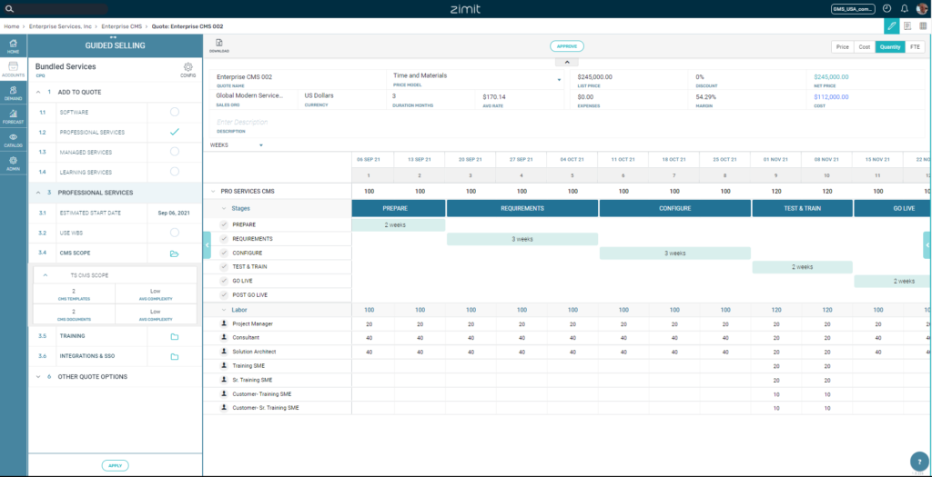 Zimit Services CPQ Software Vendors Screenshot