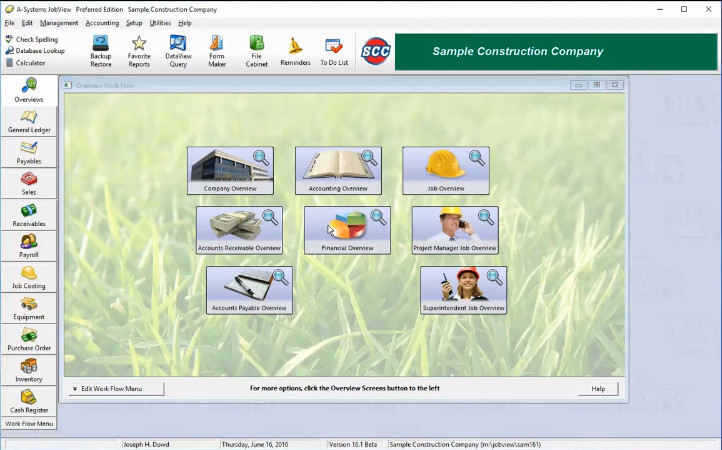 Screenshot of A-Systems Job Costing Software