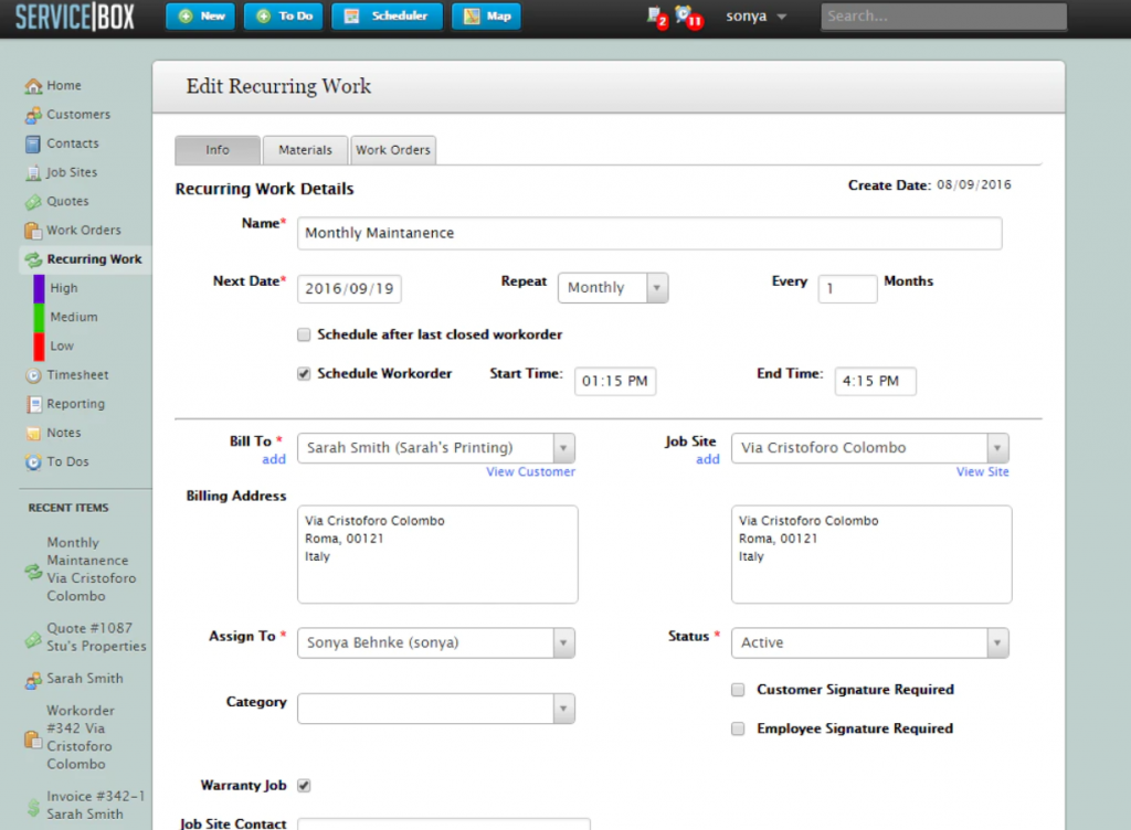 ServiceBox HVAC Software For Invoicing, Bidding & Scheduling Screenshot